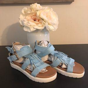 Blue ruffled sandals